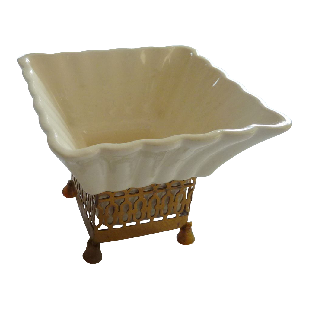 Mid Century White Ceramic Planter with Stand