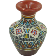 Terra Cotta Miniature Hand painted Urn Vase