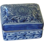 Rectangle Small Blue Hand Painted Box with Lid