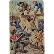 Construction Site Alfred Mainzer Humanized Cats Series Postcard