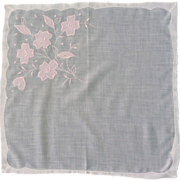 White Handkerchief with Pink Appliquéd  Flowers
