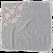 White Handkerchief with Pink Appliquéd  Flowers