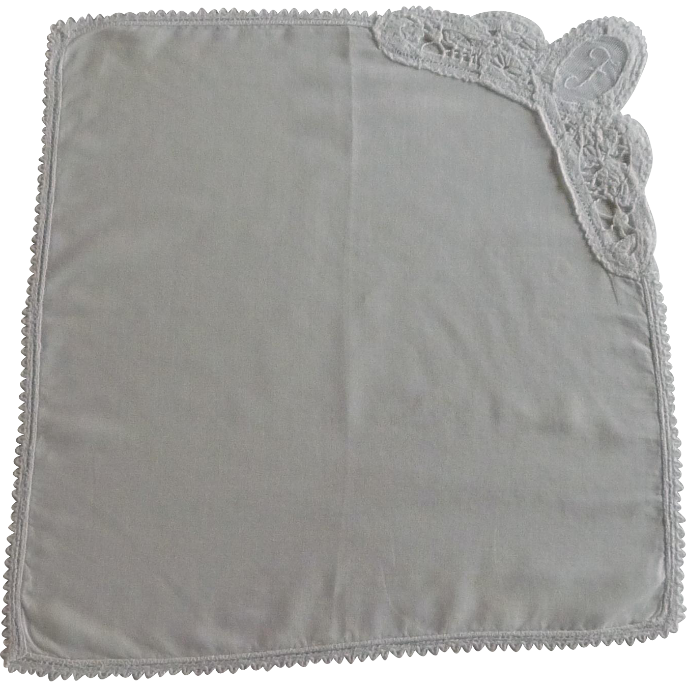 """F"" Initial White Cotton Handkerchief Hanky"