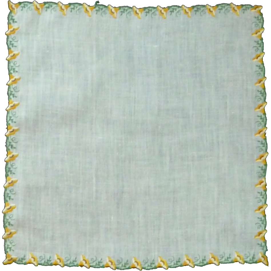 White Linen  Handkerchief with Yellow Trumpet Flower Border