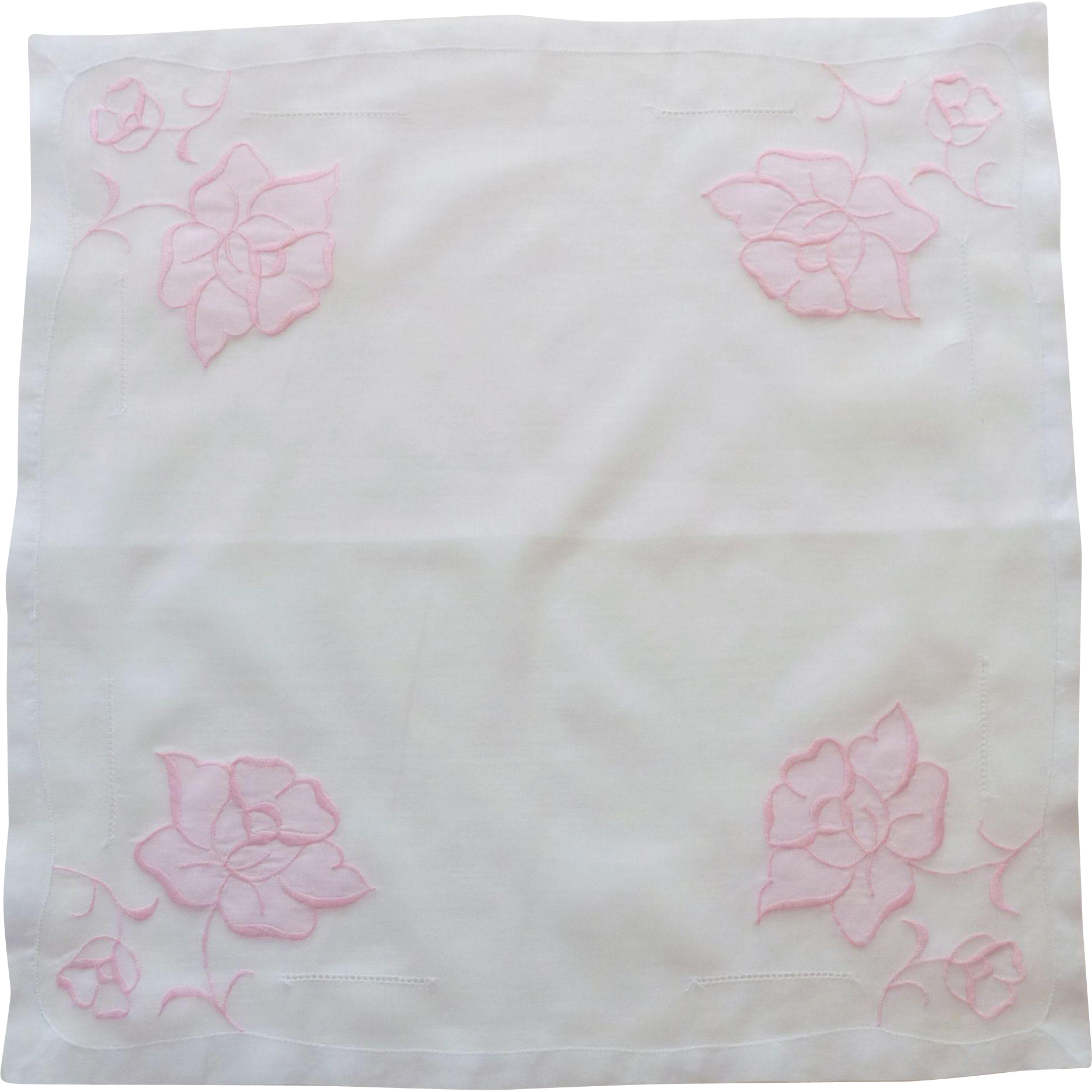 White Handkerchief with Pink Appliquéd  Roses and Cutwork