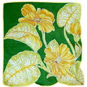 Bold Green and Yellow Flowers Linen Handkerchief Hanky