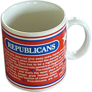 Large Republican Coffee Mug 1980's