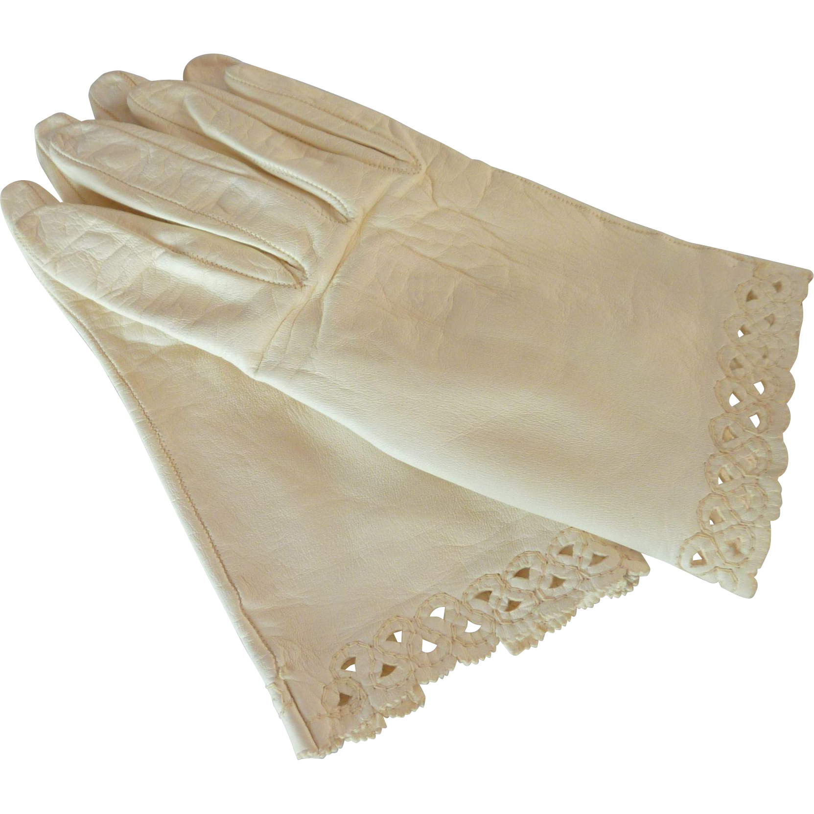 Egg Shell White Kid Leather Wrist Gloves