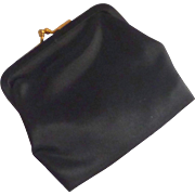 Mid – Century Black Satin Coin Purse