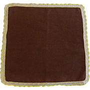 Brown Handkerchief with White Yellow Lace