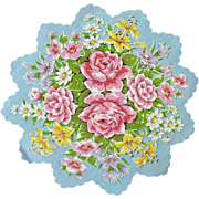 Blue with Flowers on Round Scalloped Handkerchief Hanky