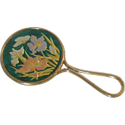 Green with Iris and Butterflies  Small Enamel Hand Mirror