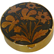 Damascene Round Hinged Box with Bee Motif
