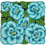 Big Bold Aqua Teal Flower Handkerchief Hanky