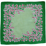Green with Pink Jonquil Type Flowered Handkerchief Hanky
