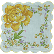 Large Yellow Rose Handkerchief Hankie Hanky