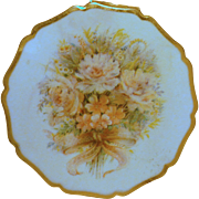 Stratton Compact Floral  Design on White Enamel