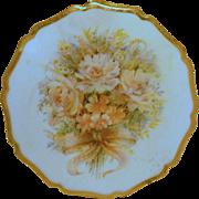 Stratton Compact Floral  Design on White Enamel