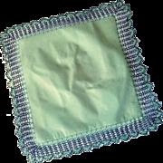 Linen Green Handkerchief with Lace Crochet Edge