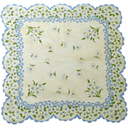 White and Blue Flowers Scalloped Edged Handkerchief