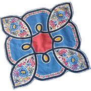 Unusual Shaped Handkerchief with Flowers