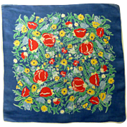 Dark Blue with Red Poppies and Yellow Daisy Handkerchief
