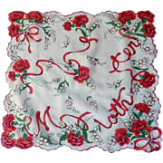 Mother Red Carnations White Scalloped Handkerchief