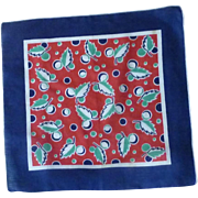 Dark Blue, Red and Green Leaves Handkerchief