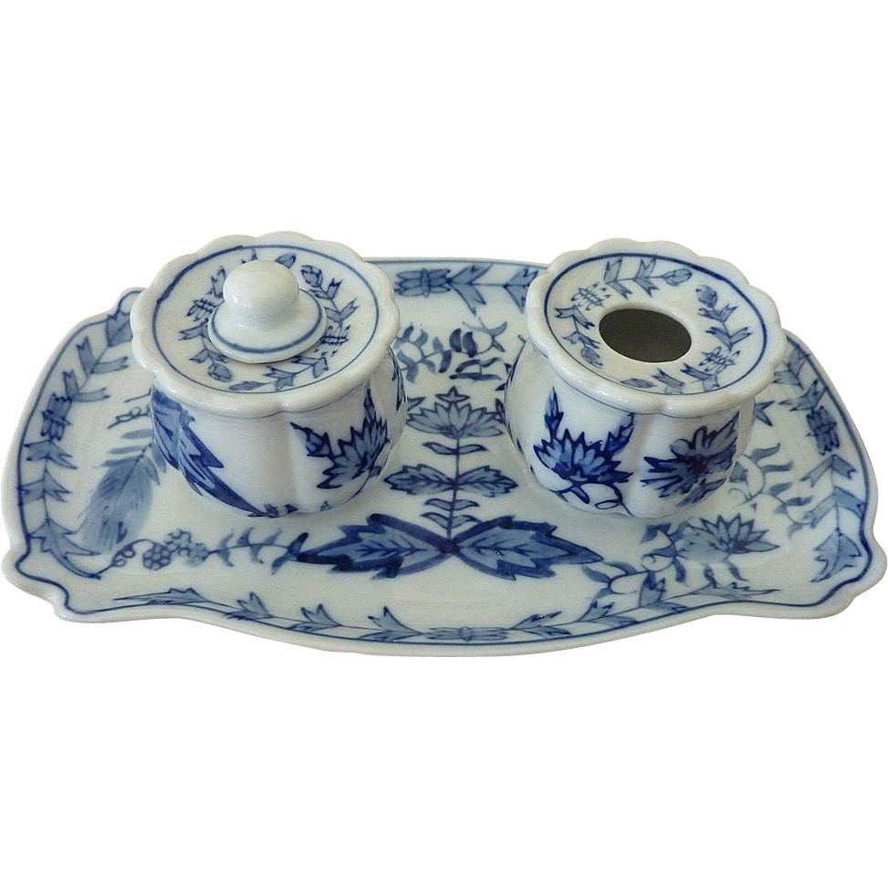 Blue Porcelain Inkwell set with Tray
