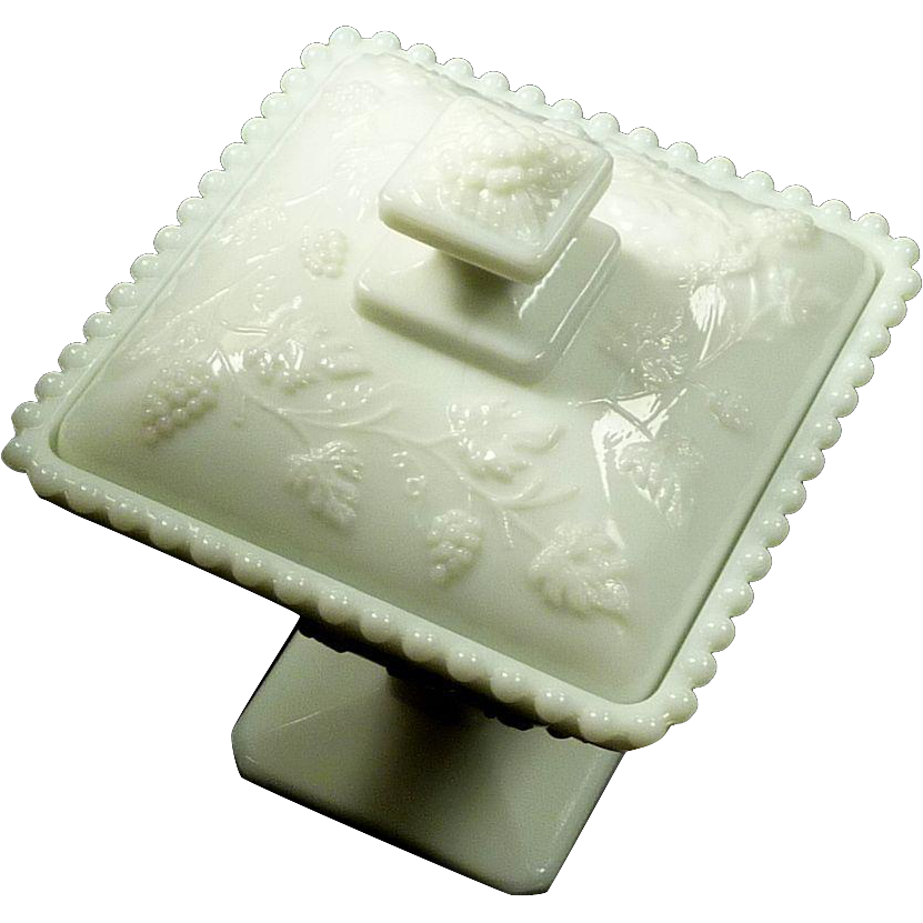 Footed Dish with Lid Westmoreland Milk Glass