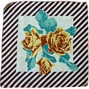 Unusual Brown Striped and Gold Yellow Rose  Handkerchief Hanky