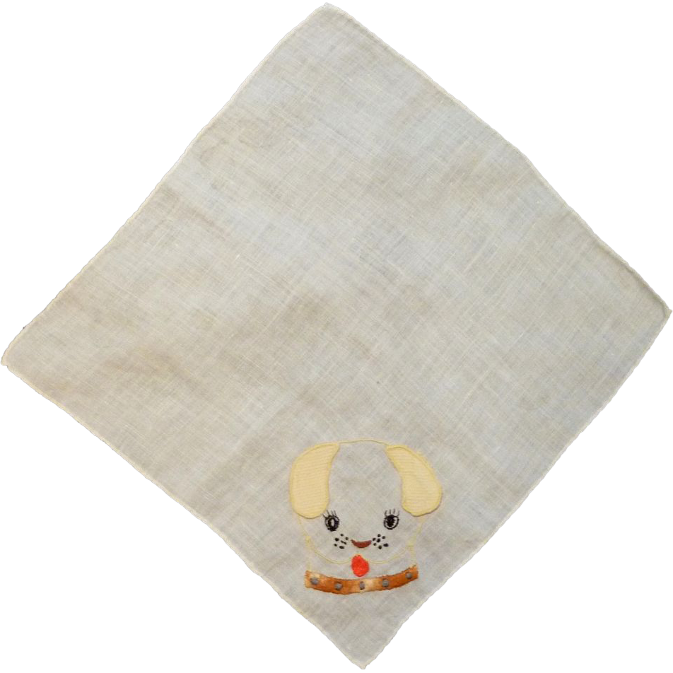 Puppy Dog Appliqué and Embroider Handkerchief Hanky