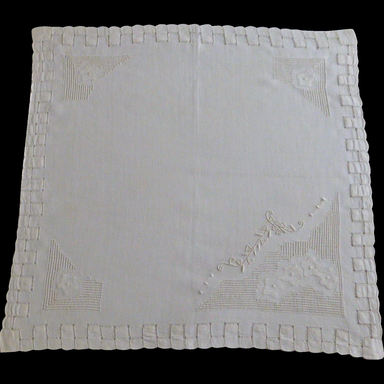 White Delicate Pull Work Handkerchief