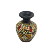 Black Miniature Hand Painted Pottery Urn Vase