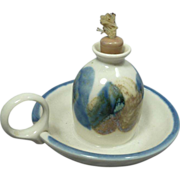 Blue and Cream Pottery Oil Lamp with Handle