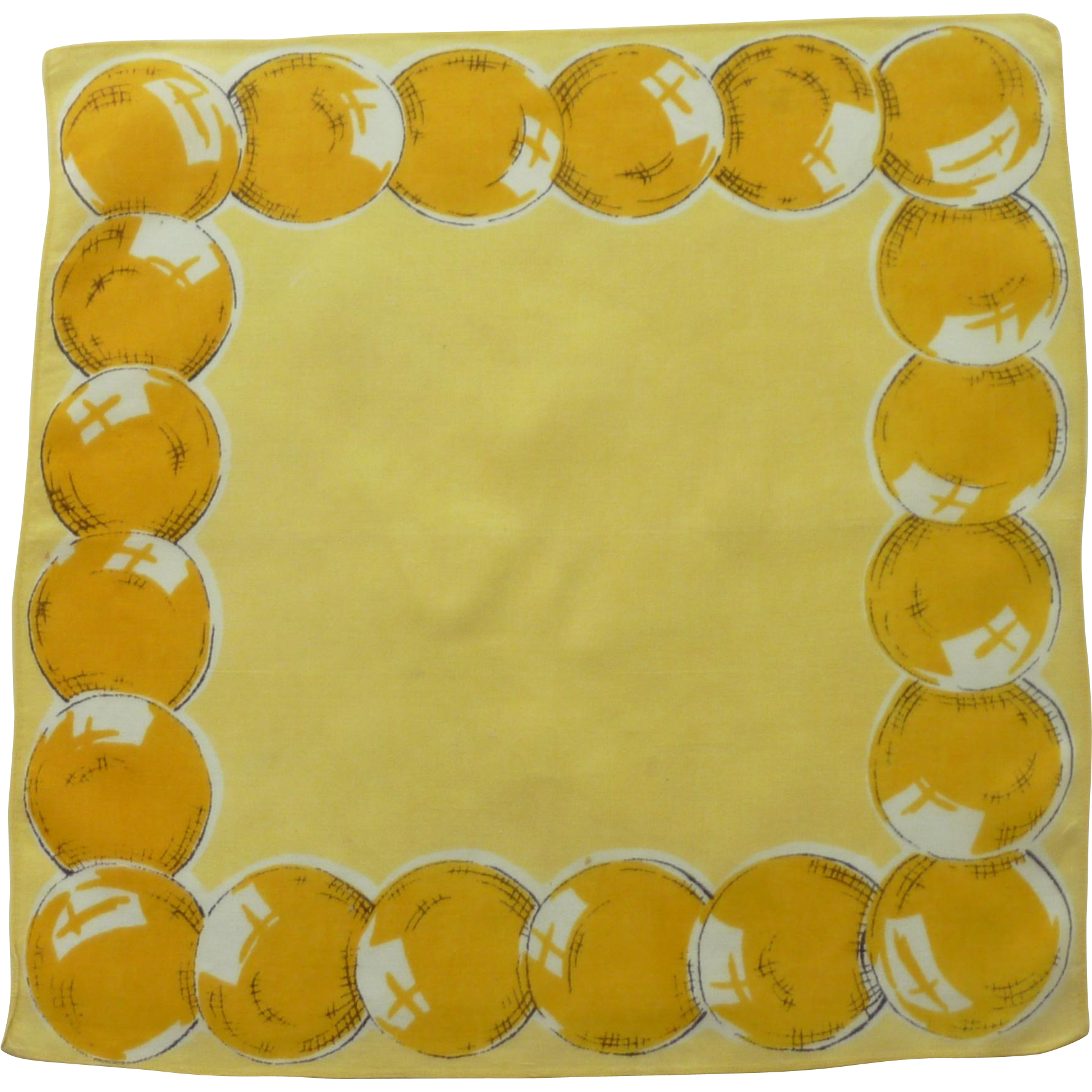 Yellow Balloons  for a Birthday on Yellow Handkerchief Hanky