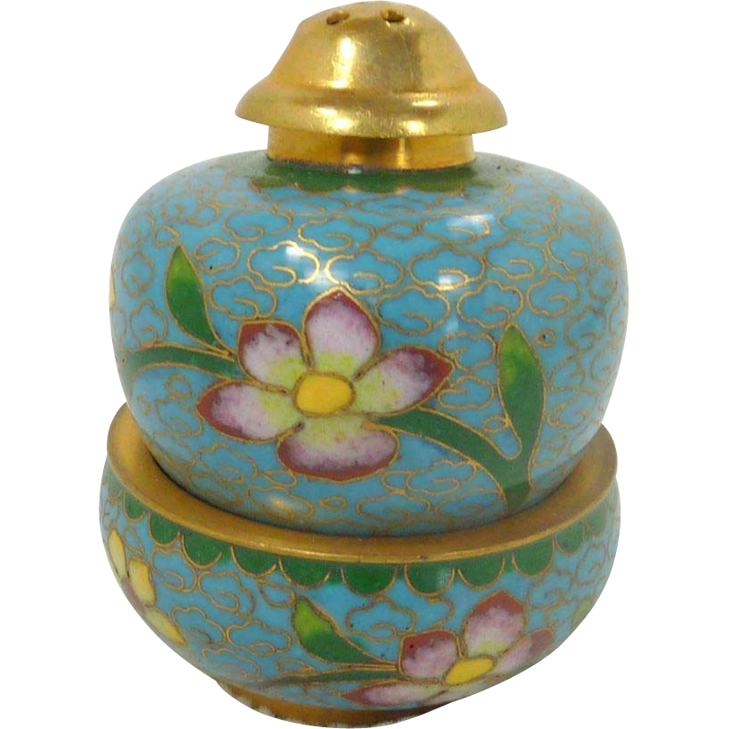 Aqua Blue Salt & Pepper Cloisonné Stacked China