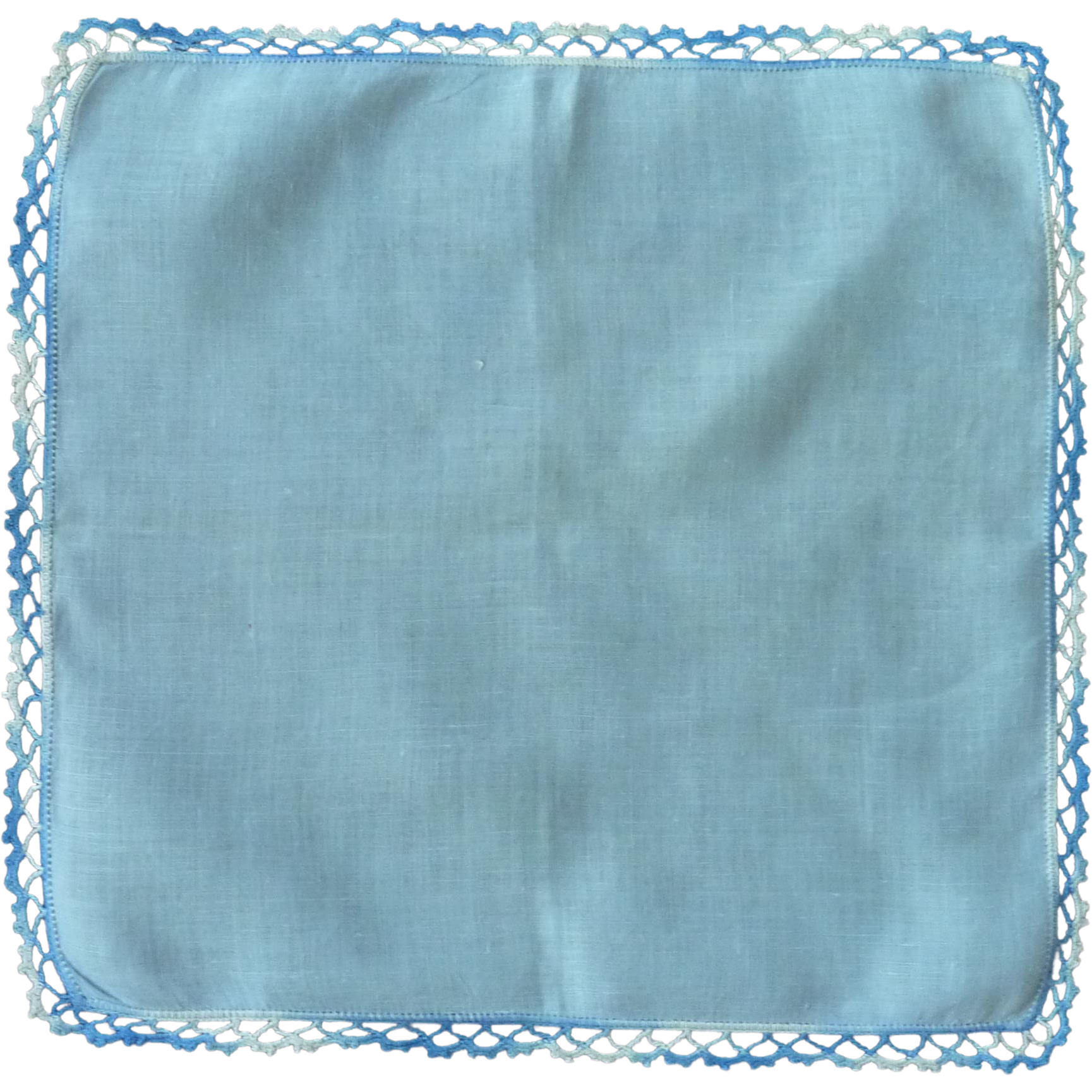 Blue Handkerchief with Tatted Variegated Edge
