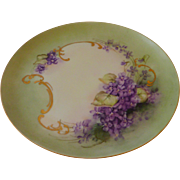 Germany Hand Painted Violet Decorated Plate 1955