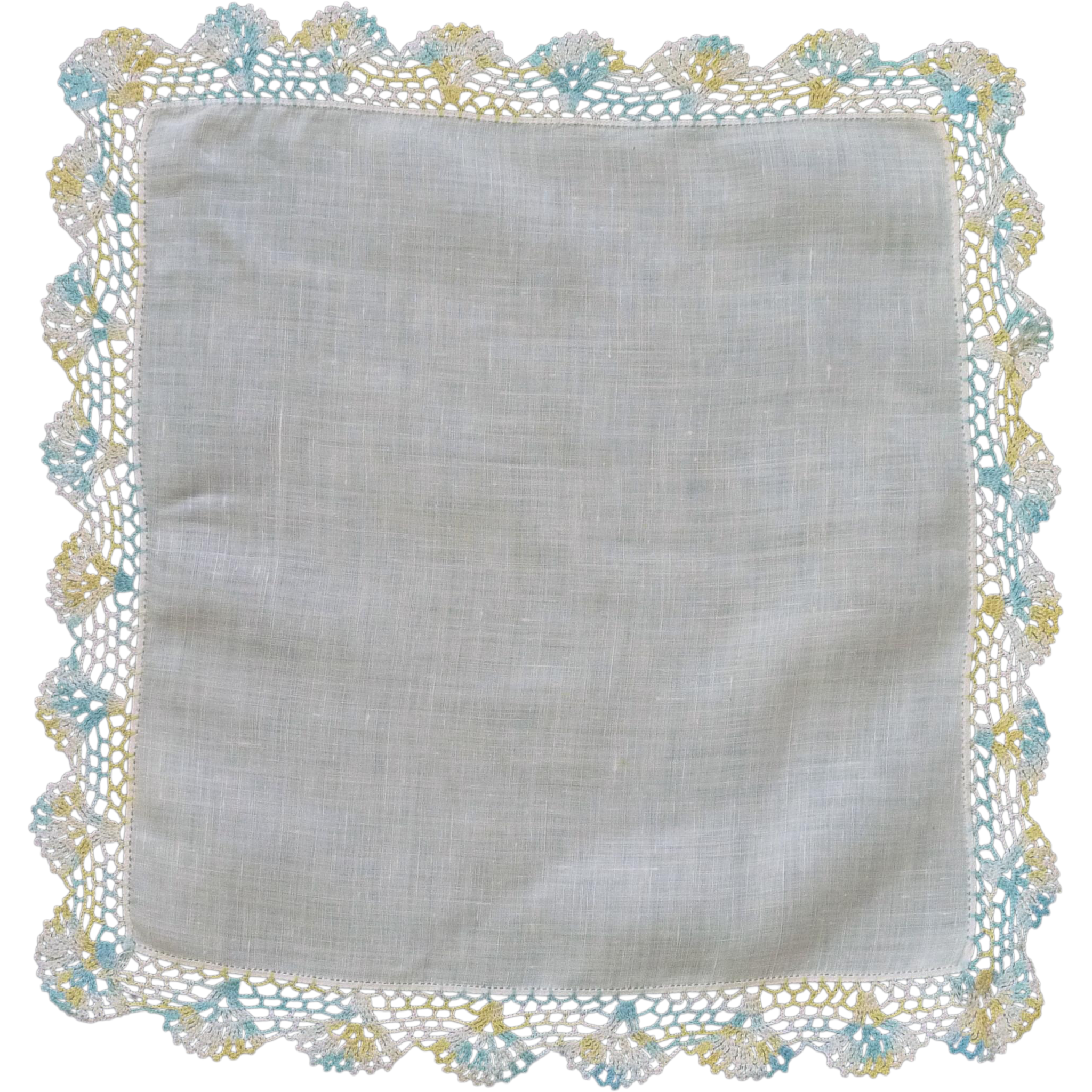 Beautiful Crotched Border on White Linen Handkerchief