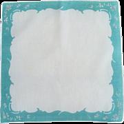 Cotton White Handkerchief with Aqua Border