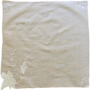 Embroidered & Appliqued  Flower White Handkerchief Hankie