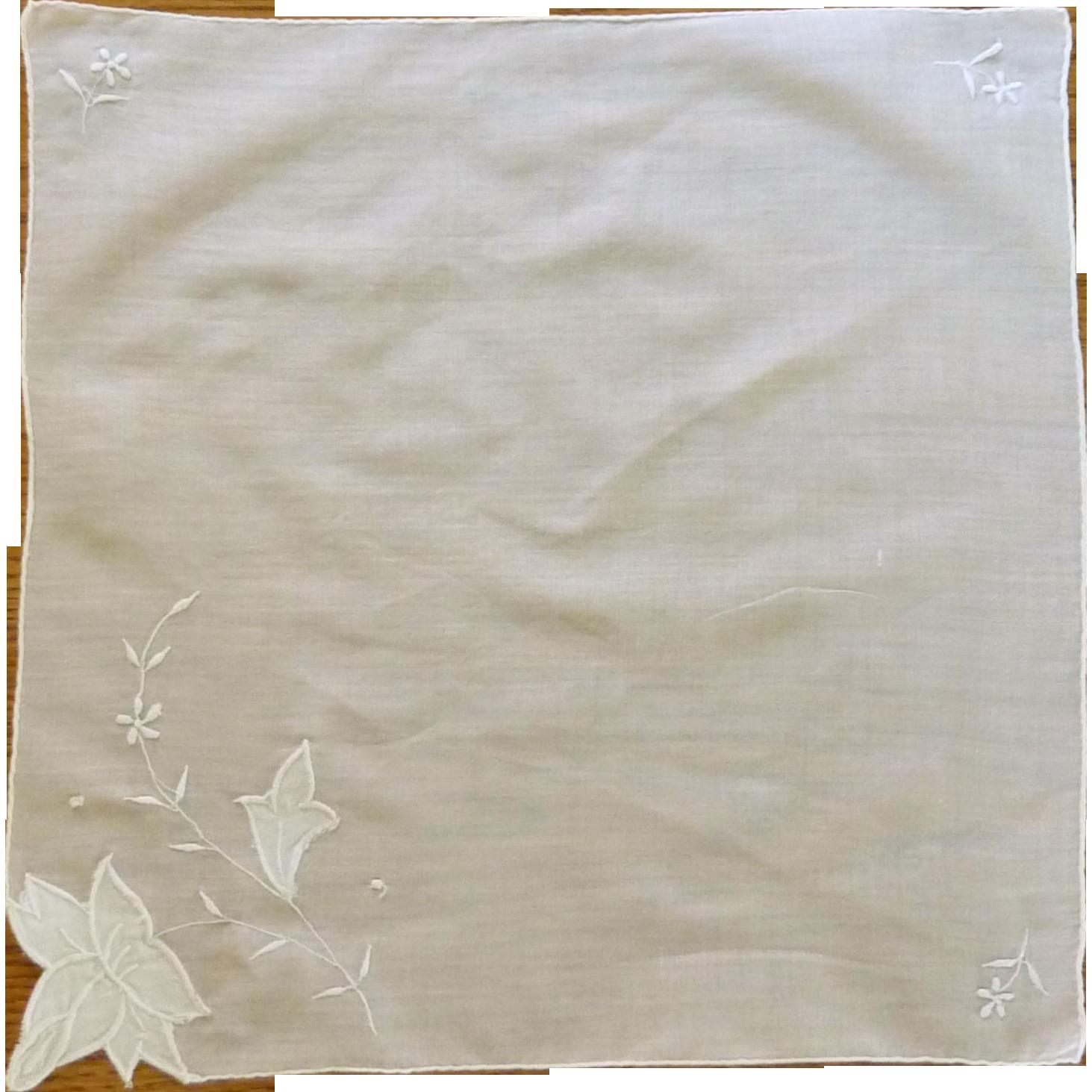 Embroidered & Appliqued  Flower White Handkerchief Hankie