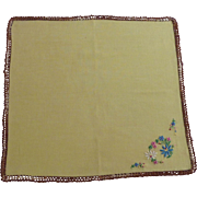 Yellow with Brown Crochet Edging Handkerchief Hankie