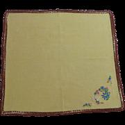 Yellow with Brown Crochet Edging Handkerchief Hankie