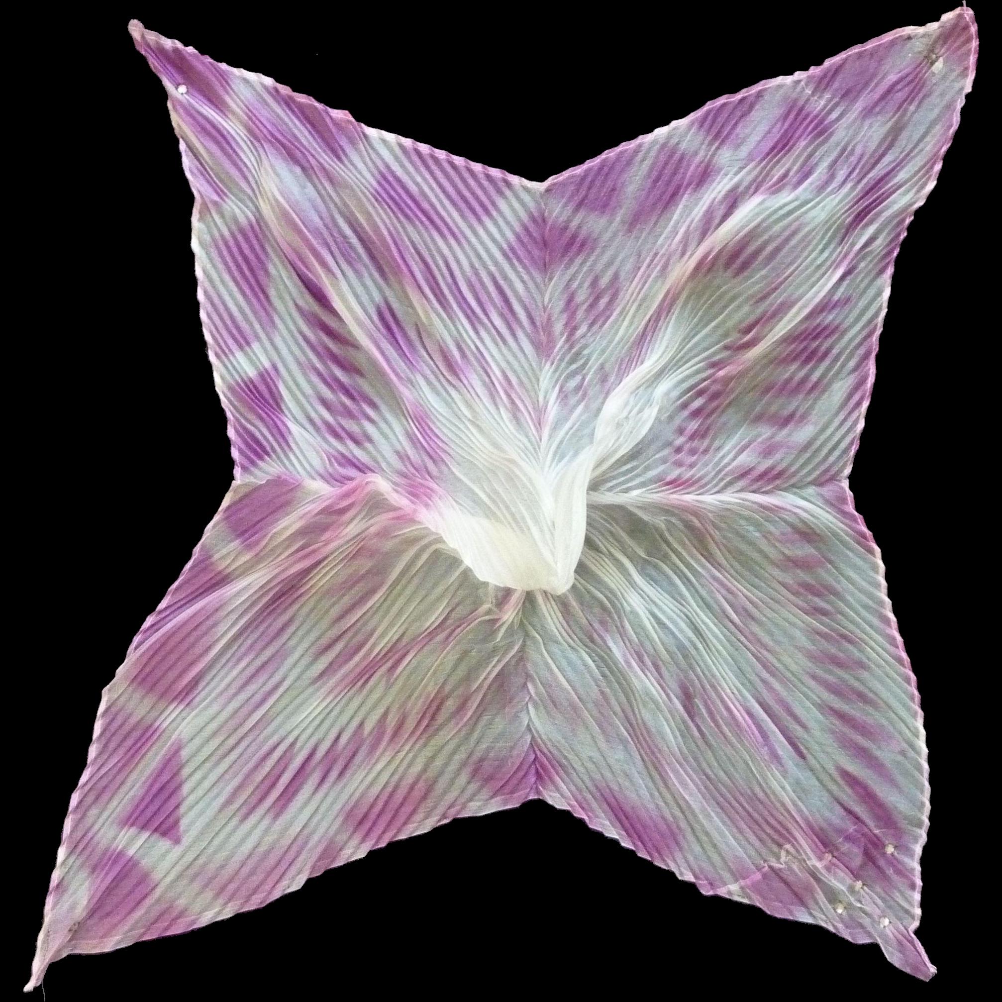Sheer Pleated Fainting Pink Fuchsia White Handkerchief Hanky