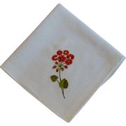Red Orange Poppies on White Linen Hankie Handkerchief