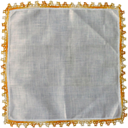 Gold Yellow Handkerchief with Tatted Variegated Edge
