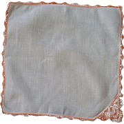 Salmon and White Variegated White Linen Handkerchief