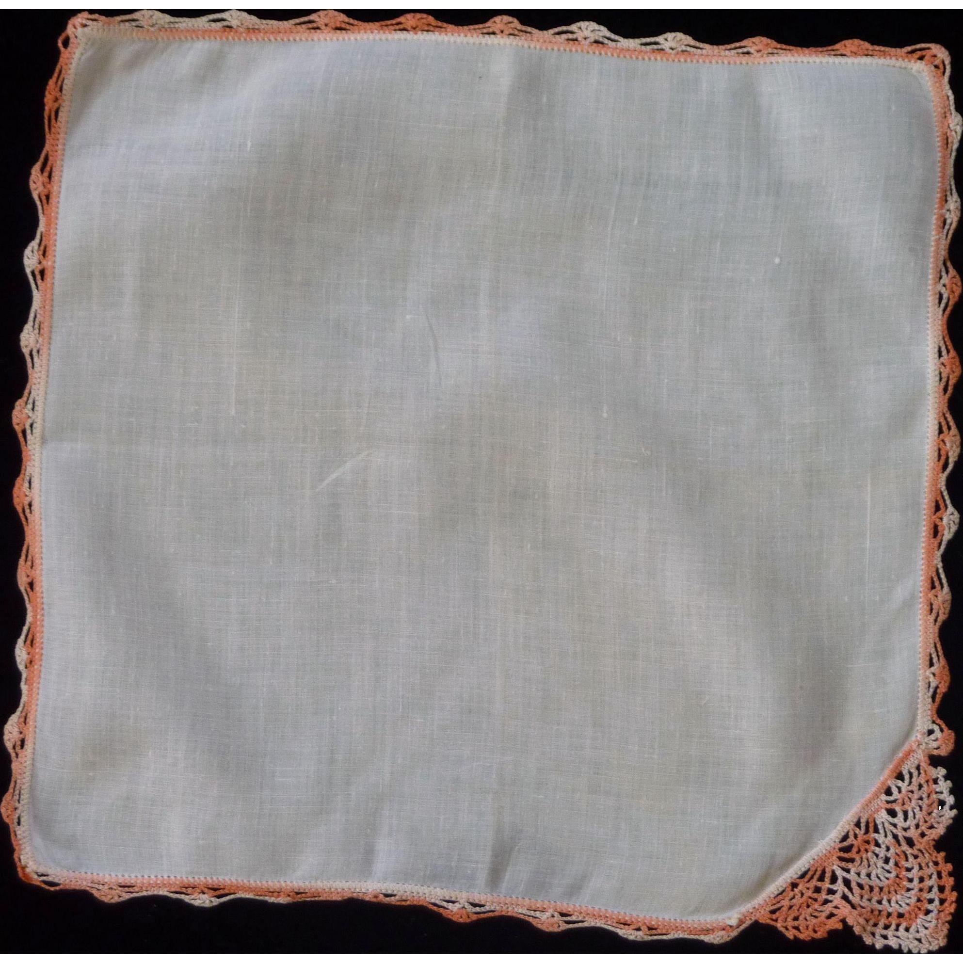 Salmon and White Variegated White Linen Handkerchief